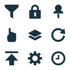 User icons set with setting, download, wait and other watch 