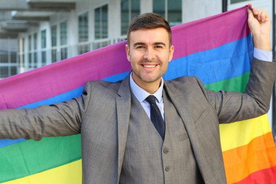 Homosexual businessman celebrating diversity at work