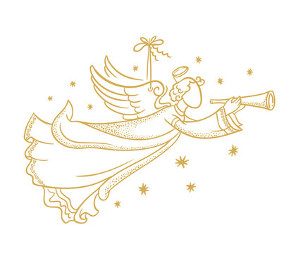 Golden isolated angel silhouette  hanging on a cord and snowflakes