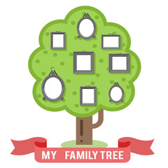 Family tree photo picture frames flat design vector illustration