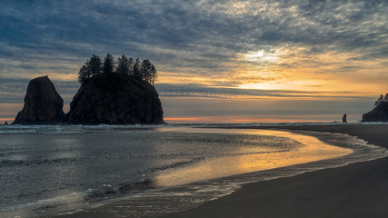 Sunset at second beach in Olympic Peninsula