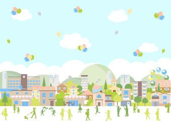 街並み 風船 イラスト