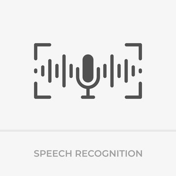 Voice command control. Voice recognition icon. Sound wave with imitation of voice, and microphone.