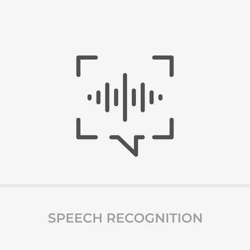 Voice command control. Voice recognition icon. Speech bubble capture and sound wave with imitation of voice.
