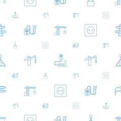 cable icons pattern seamless white background. Included editable line construction crane, phone connection cable, hook with cargo, mp player icons. cable icons for web and mobile.