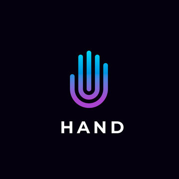 Modern stylized hand line logo