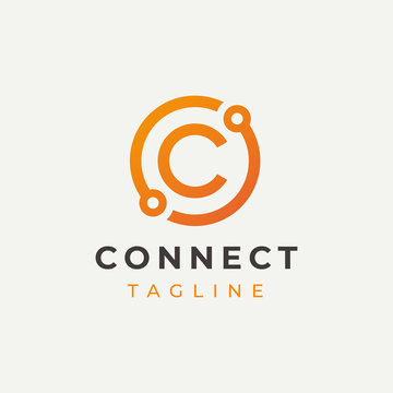 Tech Letter C Logo Icon Design Template. Technology Abstract Line Connection Circle Vector Logotype. Simple creative template.