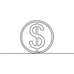 Dollar coin one line drawing vector