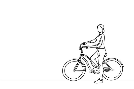 girl riding bike one continuous line art drawing