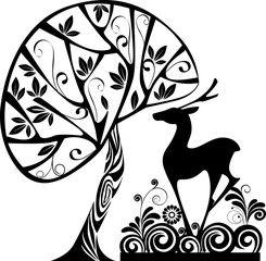 silhouette of decorative  template deer in grass and tree, vector illustration for stencil pattern