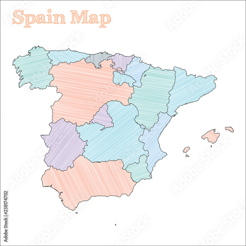 Spain Map Of Provinces.Spain Hand Drawn Map Colourful Sketchy Country Outline Fancy Spain