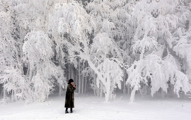 A woman takes pictures in a forest on a bank of the Yenisei River covered with snow and hoarfrost with the air temperature at about -16 degrees of Celsius outside the Siberian city of Krasnoyarsk