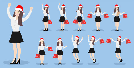 Character girl in a New Year's cap with Christmas gifts in various poses. Set of flat illustrations on a blue background.
