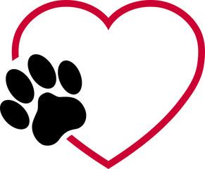 Katzenpfote und Herz, Pfote, Katze, Logo