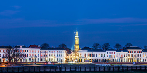 Evening view of the Dutch city of Zutphen in Gelderland