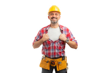 Builder revealing copyspace under shirt.