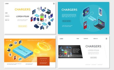Isometric Modern Chargers Websites Set