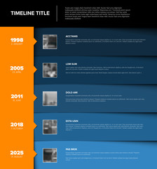 Timeline template with blue blocks and photo placeholders