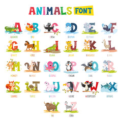 Vector Illustration Of Cartoon Animals Font