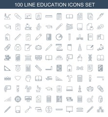 100 education icons. Trendy education icons white background. Included line icons such as ABC cube, pencil, observatory, board, ruler, brain. education icon for web and mobile.