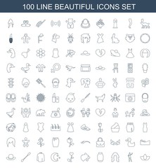 100 beautiful icons. Trendy beautiful icons white background. Included line icons such as lotus, dancing woman, hairstyle, skirt, panther, heart flower. beautiful icon for web and mobile.