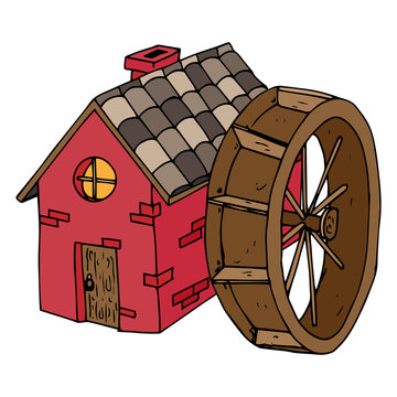 Water Mill icon. Vector illustration house with a tiled roof. Hand drawn house with wooden door and the round window.