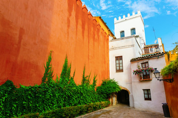 exterior wall of the Alcazar in Seville, Spain