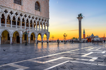 Keuken foto achterwand Venetie Sunrise view of piazza San Marco, Doge's Palace (Palazzo Ducale) in Venice, Italy. Architecture and landmark of Venice. Sunrise cityscape of Venice.