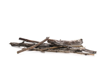 Dry branches for camp fire, isolated on white background
