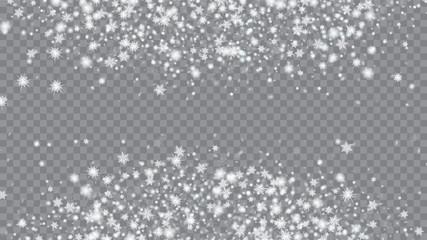 Christmass winter background. Macro snowflakes flying border illustration. Holiday illustration for christmas card. Transparent base.