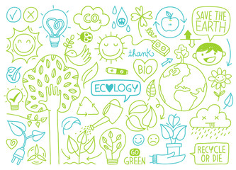 ecology sketches and hand drawn icons Wall mural