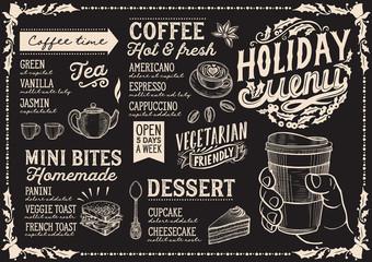 Christmas menu template for coffee shop on blackboard.