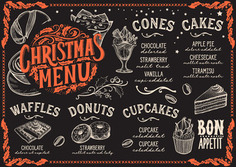 Christmas menu template for dessert restaurant.