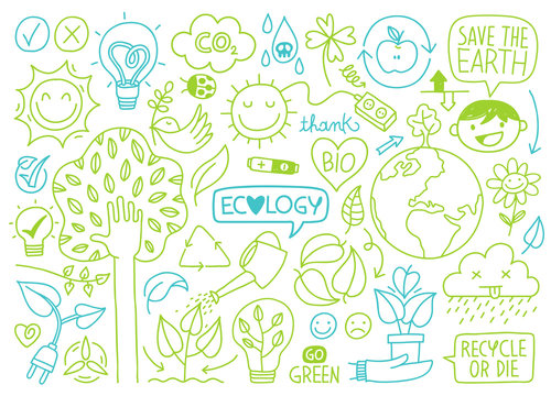 ecology sketches and hand drawn icons