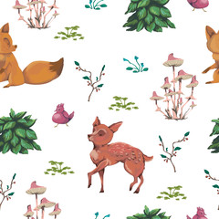 Seamless pattern with baby deer, fox, bird, bush, flowers,  leaves, berries and mushrooms. Cute cartoon characters. Hand drawn vector illustration in watercolor style