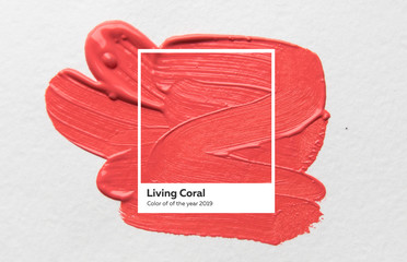 brush and paint texture on paper living coral. Color of the year 2019. livingcoral