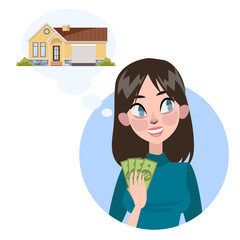 Woman want to buy a house. Rent a property