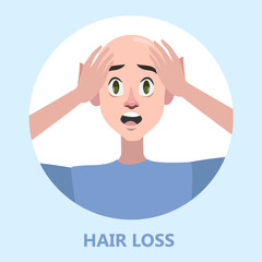 Hair loss problem. Stressed man with alopecia