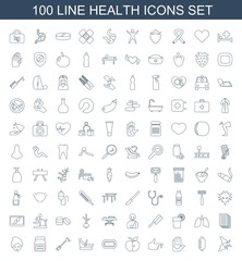 100 health icons. Trendy health icons white background. Included line icons such as broken leg or arm, drop counter, heart on hand, injured finger. health icon for web and mobile.