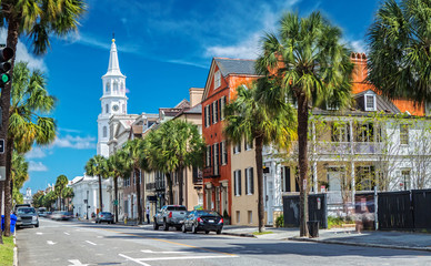 St. Michaels Church and Broad St. in Charleston, SC