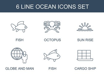 6 ocean icons. Trendy ocean icons white background. Included line icons such as fish, octopus, sun rise, globe and man, cargo ship. ocean icon for web and mobile.