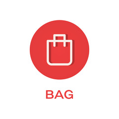 Bag round flat icon, pack symbol