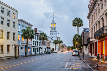St. Michaels Church and Broad St.  in Charleston, SC at Dusk