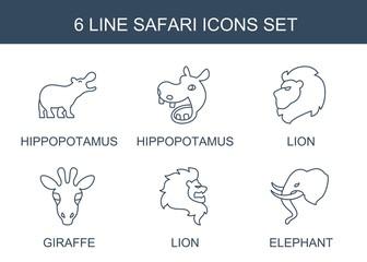 6 safari icons. Trendy safari icons white background. Included line icons such as hippopotamus, lion, giraffe, elephant. safari icon for web and mobile.