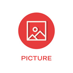 Picture round flat icon, image symbol