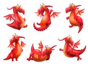 set of red dragons isolated on white