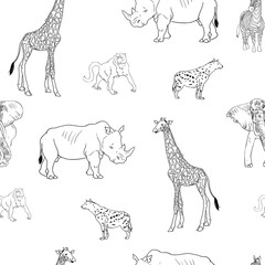 Animals black and white vector pattern for textile, fabric, fashion clothes. African animal illustration isolated on background. Safary pattern