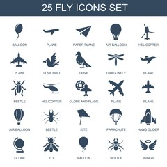 25 fly icons. Trendy fly icons white background. Included filled icons such as balloon, plane, paper plane, air balloon, helicopter, love bird, dove. fly icon for web and mobile.