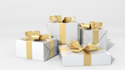 Gift boxes 3d illustration.
