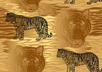 Seamless pattern with Tiger, fur stripes and tiger head close-up. Beast style.